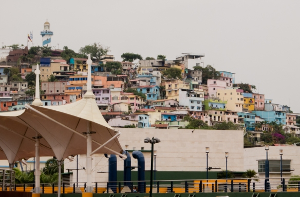 Colorful hillside homes viewd from the Malecon Simon Bolivar (Malecon 2000), Guayaquil, Ecuador