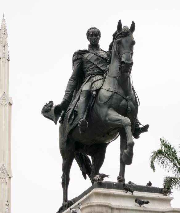 Equestrian statue of Simon Bolivar (1888) in Seminario Park, Guayaquil, Ecuador