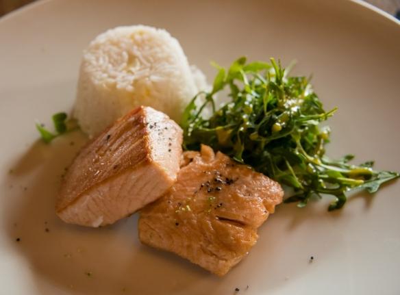 Fresh salmon with rice and greens (entree) at Senzo Restaurant at Belmond Palacio Nazarenas (Hotel), Cuzco, Peru