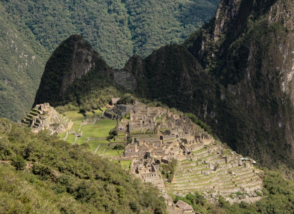 From the Inca Trail, a close-up view of Machu Picchu, Peru