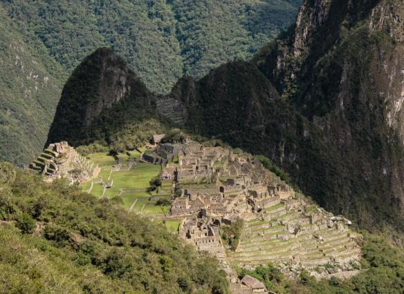 From the Inca Trail, a close-up view of Machu Picchu, Peru