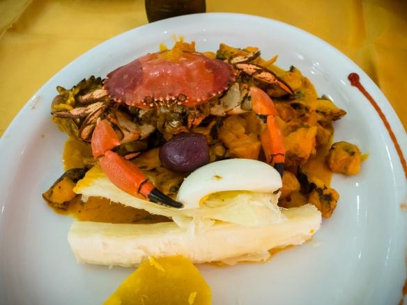 Guisado de los mariscos y yuca (seafood stew with yucca) (entree) at El Mochica Restaurant, Trujillo, Peru