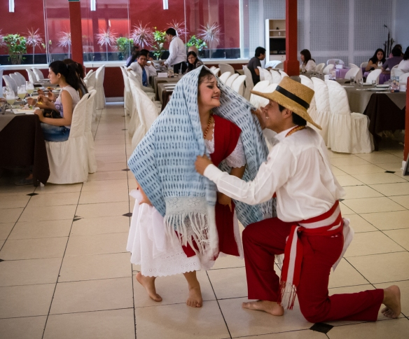 Local dancers performing for diners at luncheon at El Mochica Restaurant, Trujillo, Peru