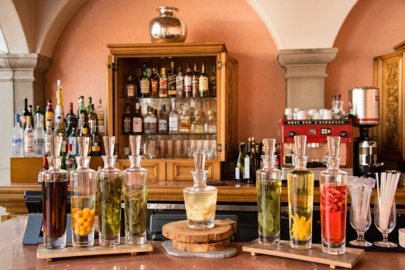 Local spirits (and more) at the bar at Belmond Palacio Nazarenas (Hotel), Cuzco, Peru