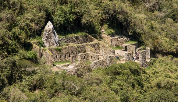 Ruins of an Inca Temple for pilgrim's offerings, along the Inca Trail as it descends into Machu Picchu from the Sun Gate, Peru