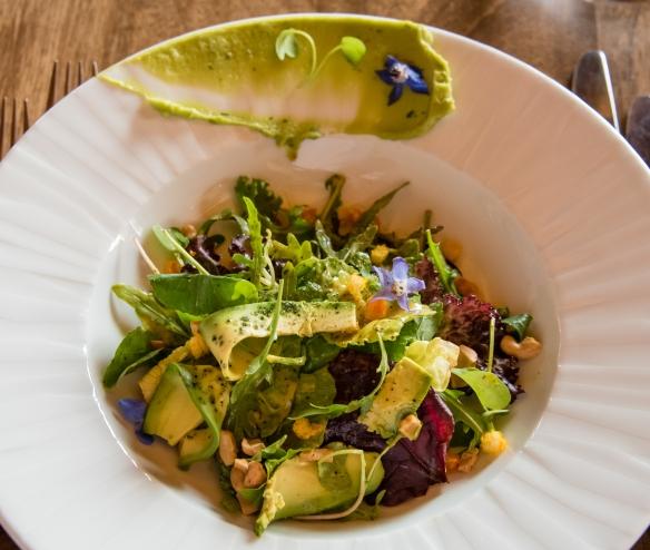 Salad of fresh local greens and avocado (starter) at Senzo Restaurant at Belmond Palacio Nazarenas (Hotel), Cuzco, Peru