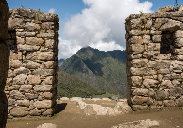 The Inca Trail's Sun Gate's entrance to the last portion of the trail down into, and the first glimpse of, Machu Picchu, Peru