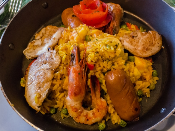The local recipe for paella, an entree at El Caracol Azul restaurant, Guayaquil, Ecuador