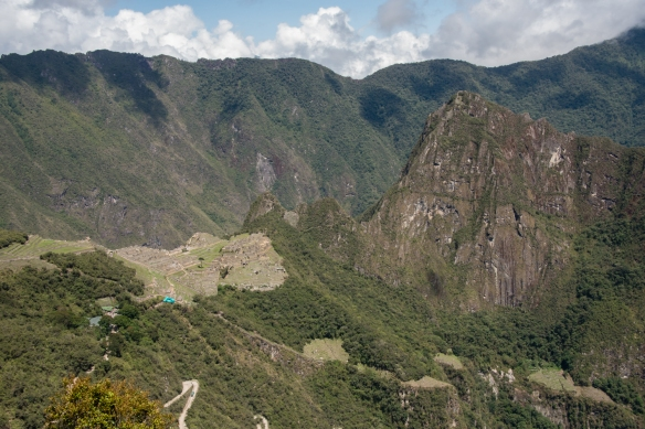 The main urban sectors (central plateau, near left) and terraced agricultural sectors of Machu Picchu, Peru