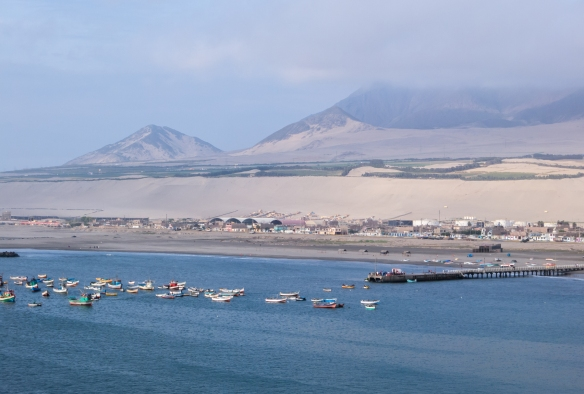 The port city of Salaverry (near Trujillo, inland), Peru.  Note -- the desert along the Pacific Ocean is a geologic feature, all along the northern and central coasts of Peru