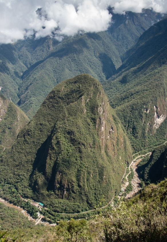 View of the Urubamba River as it flows around Aguas Calientes below Machu Picchu, Peru