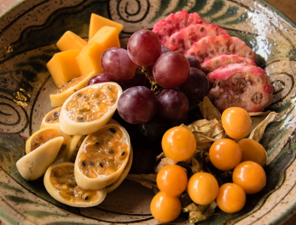 A platter of local fruit for dessert for our family-style BBQ luncheon on the terrace at Wayra Ranch, Urubamba Province (Sacred Valley of the Incas), Peru