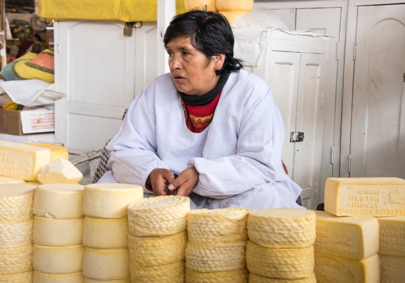 A slow morning for the cheesemonger, Mercado San Pedro, Cuzco, Peru
