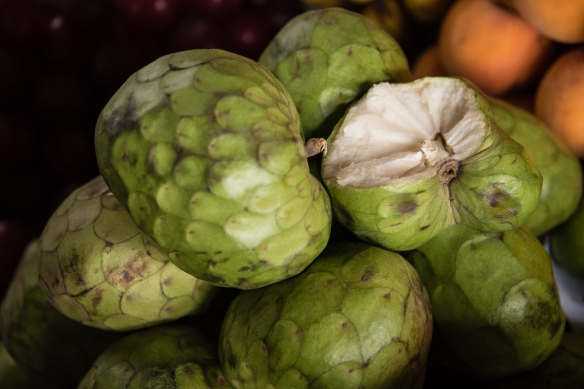 Cherimoya, nicknamed the ice cream fruit, at Mercado San Pedro, Cuzco, Peru