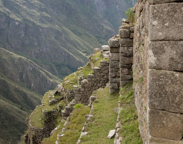 Details of the agricultural terraces and retaining walls built by the Incas on the western side of Machu Picchu, Peru_