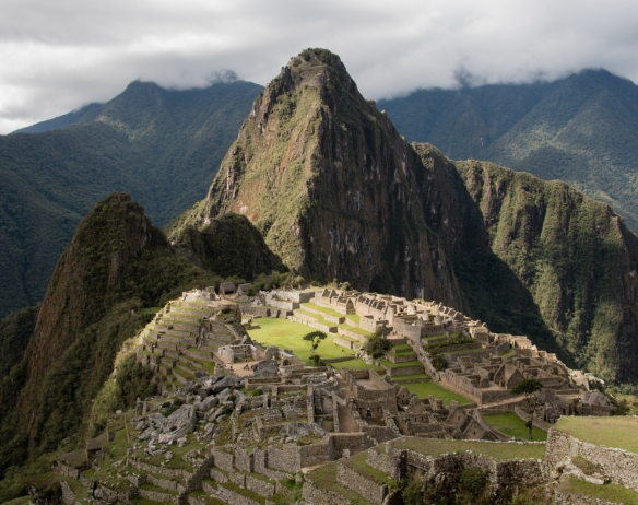 General view of Machu Picchu from the south, with Huayna Picchu mountain in the background, Peru_