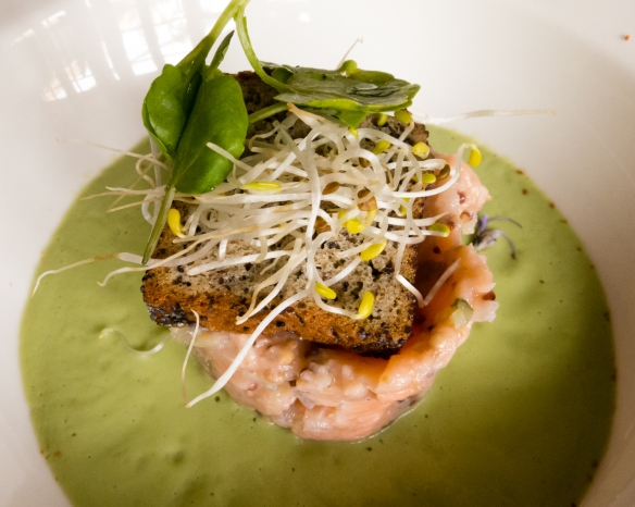 Our first course was avocado cream and sweet salmon tartare with poppy seeds with Vina Casa Marin Sauvignon Gris 2015, Las Condes, San Antonio Valley, Chile-