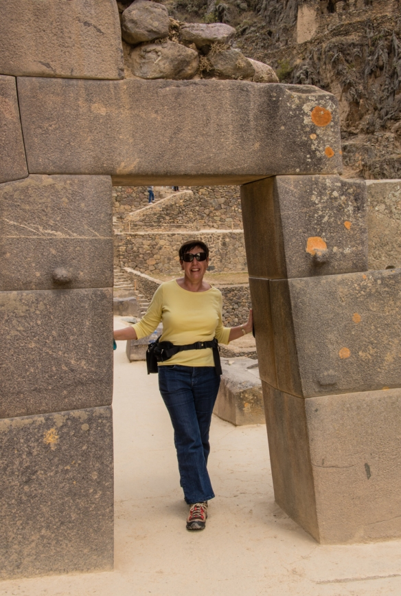 Our intrepid explorer at Ollantaytambo Fortress hiking up to Templo del Sol (Temple of the Sun), Ollantaytambo, Peru