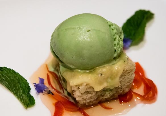 Peruvian corn cake with pistachio ice cream for dessert, Belmond Sanctuary Lodge, Machu Picchu, Peru