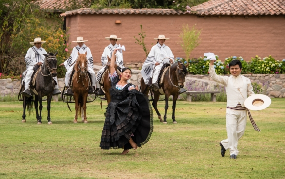 Peruvian Paso Horses (from the Wayra Ranch) demonstration and a performance of the marinera dance after our luncheon on the terrace at Wayra Ranch, Urubamba Province (Sacred Valley of the Incas), Peru