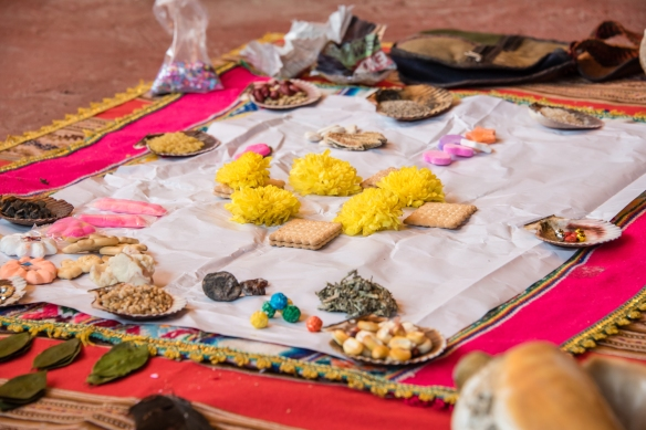 Ritual offerings prepared for the Despacho ceremony (Andean Ritual to Mother Earth), Ollantaytambo, Peru