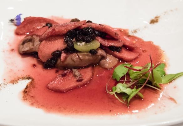 Seared foie gras wtih quince as a first course, Belmond Sanctuary Lodge, Machu Picchu, Peru