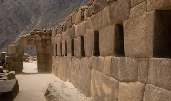 The pathway at Ollantaytambo Fortress leading to Templo del Sol (the Temple of the Sun), Ollantaytambo, Peru