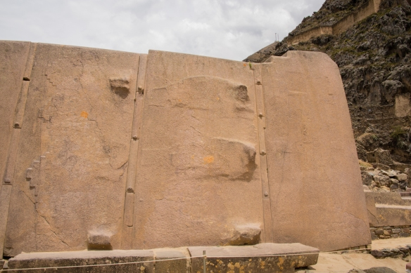 Three of the stone panels of the Wall of the Six Monoliths of the Templo del Sol (Temple of the Sun), Ollantaytambo, Peru