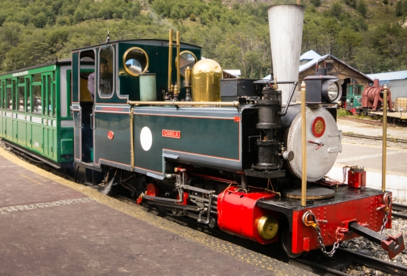 "A ""portrait"" of the first engine, Camila, (from the United Kingdom) of the restored El Tren del Fin del Mundo (End of the World Train), Parque Nacional Tierra del Fuego (Tierra del Fuego National Park), Ushuaia, Argentina"