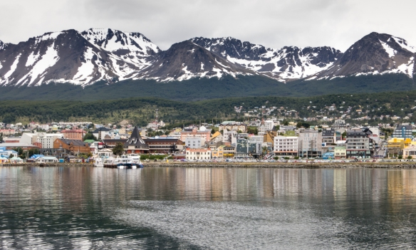 A last view of downtown and the Andes Mountains as our ship sailed out of Ushuaia, Argentina, heading for Drake Passage and the two days at sea to reach the Antarctic Peninsula