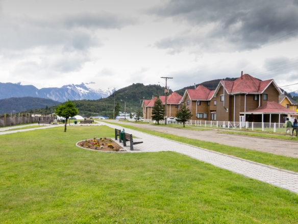 A new housing developmnet overlooking the harbor, Puerto Chacabuco, Patagonia, Chile