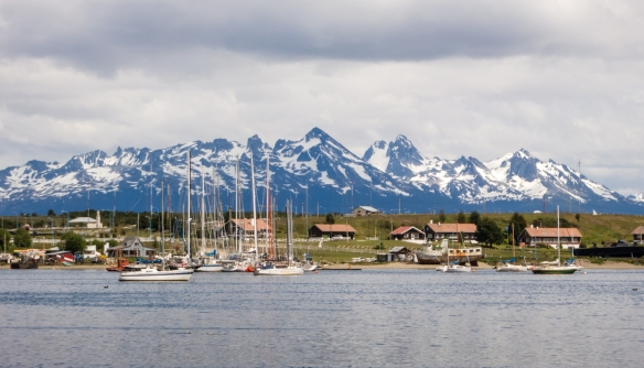A residential community and recreational boats harbored in Ushuaia, Argentina