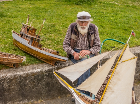 A retired sailor now well known as the town's leading model ship maker, Puerto Varas, Chile