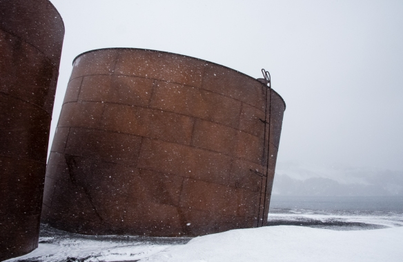 Abandoned whale oil tanks viewed in a blizzard, Deception Island, South Shetlands Archipelago, northwest of the northern tip of the Antarctic Peninsula