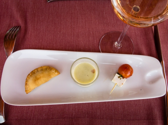 Aperitif -- Lapostolle le Rose 2015 with organic cucumber gazpacho; white cheese, cherry tomato & basil skewer and cheese & olives empanadita at Lapostolle Residence, Santa Cruz, Colchagua Valley, Chile