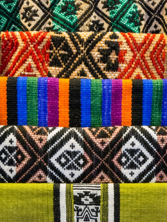 Beautiful hand woven blankets at the Fundacion Artesanías de Chile crafts store, Puerto Varas, Chile