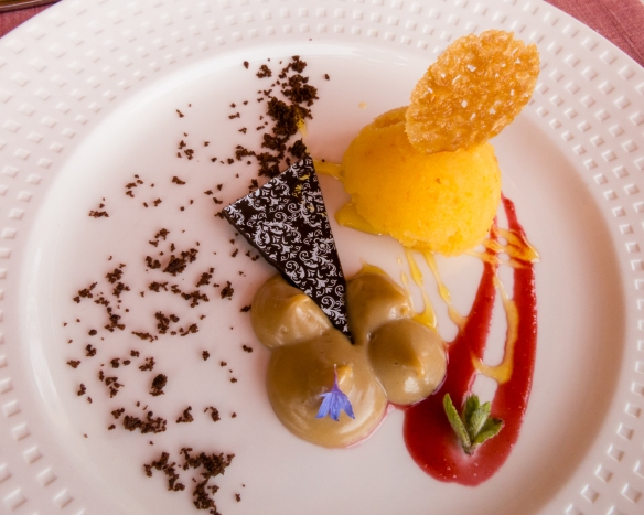 Dessert – Grand Marnier Titanium with hazelnuts & blond chocolate praline with homemade orange sorbet and berries sauce, Lapostolle Residence, Santa Cruz, Colchagua Valley, Chile