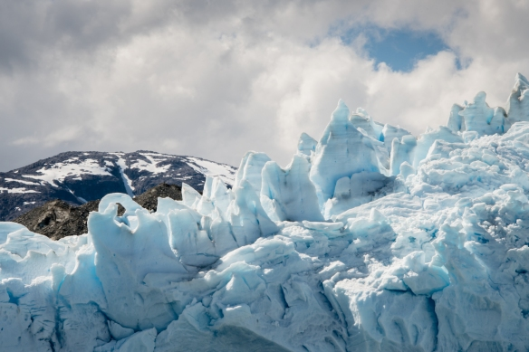 Glacial ice sculptures carved by the weather on the top of Pio XI Glacier, also know as Brüggen Glacier, Bernardo O´Higgins National Park, Patagonia, Chile