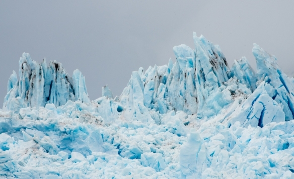 Glacial ice sculptures carved on the top of Amalia (or Skua) Glacier, Amalia Sound, Bernardo O´Higgins National Park, Patagonia, Chile--