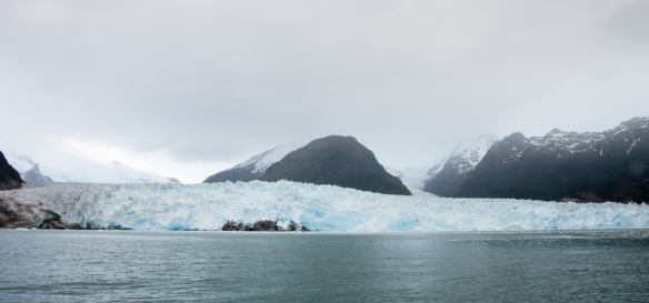 Our first panoramic view of Amalia Glacier, also known as Skua Glacier, from our Zodiac inflatable boat, Amalia Sound, Bernardo O´Higgins National Park, Patagonia, Chile