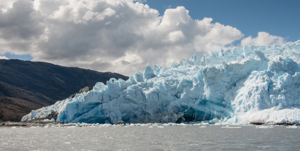 Our last panoramic view of Pio XI Glacier, also know as Brüggen Glacier, from our Zodiac inflatable boat as we headed back to the ship, Bernardo O´Higgins National Park, Patagonia, Chile
