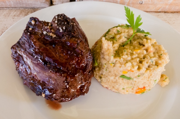 Our main course of perfectly grilled filet mignons and quinoa risotto at the restaurant at Viña Casa Silva, San Fernando, Colchagua Valley, Chile