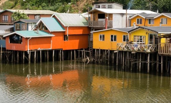 Palafito houses at high tide, Castro, Chiloé Island, Chile