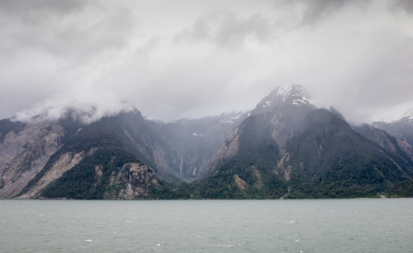 Sailing through the fjords of Patagonia -- here, the Fiordo Aisen -- after departing Puerto Chacabuco, Patagonia, Chile