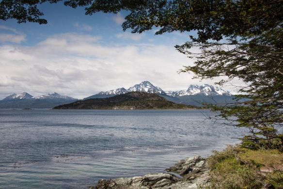 Shoreline view of Isla Redonda and the Beagle Channel, Parque Nacional Tierra del Fuego (Tierra del Fuego National Park), Ushuaia, Argentina