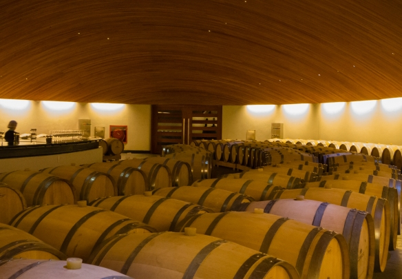 The barrel aging cellar is on the fifth level, down, at the gravity fed Lapostelle winery, Santa Cruz, Colchagua Valley, Chile