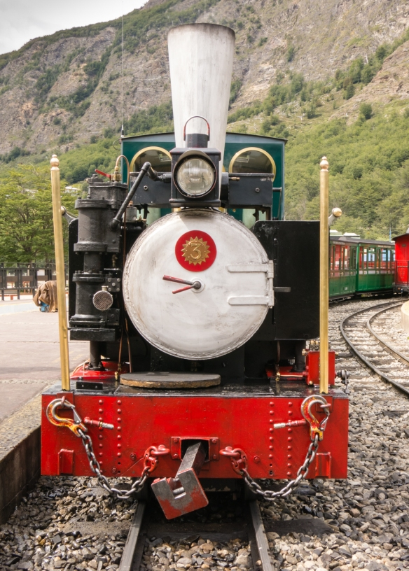 The first engine, Camila, (from the United Kingdom) of the restored El Tren del Fin del Mundo (End of the World Train), Parque Nacional Tierra del Fuego (Tierra del Fuego National Park), Ushuaia, Argentina