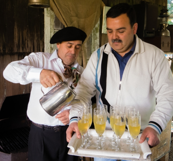 The owner's son pouring delicious ulmo sours (Pisco sours sweetened with the syrup of a tree native to the south of Chile), Chiloé Island, Patagonia, Chile