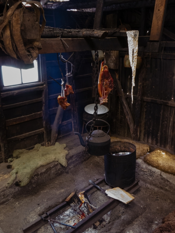 The smokehouse where meats and fish are smoked for consumption on the farm (and served to guests), Chiloé Island, Patagonia, Chile