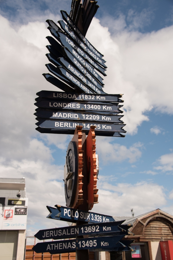 The southern tip of Argentina and South America is a long ways from home, regardless of where that is… -- sign post in downtown Ushuaia, Argentina